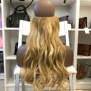"24"" Fish line band halo hair extensions"